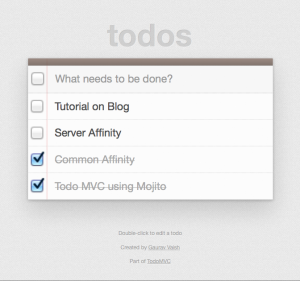 TodoMVC using Mojito